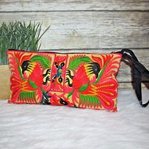Rooster Cock Chicken Embroidered Wristlet Purse